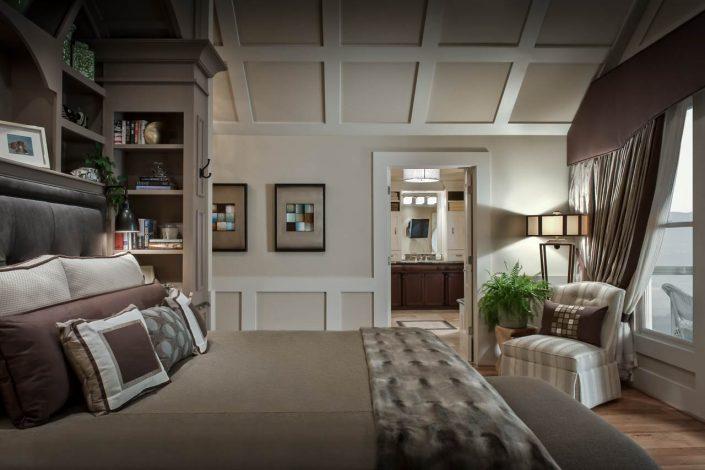 serene bedroom in earthtones